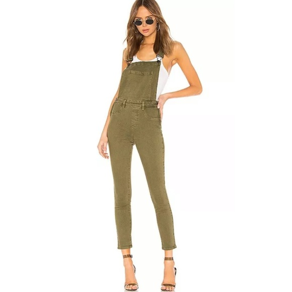 Blank NYC Olive Green Skinny Overalls